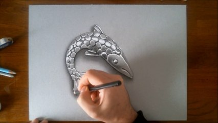 3D illusion drawing FISH CHROME ORNAMENT