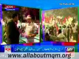Preparation of MQM rally to Express solidarity with QeT Altaf Hussain at New M.A Jinnah Road Karachi