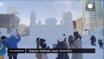 Hundreds of ice sculptures at Sapporo snow festival