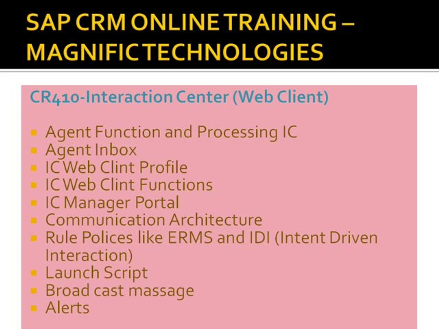 SAP CRM ONLINE TRAINING IN CHILE, BERLIN