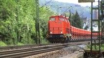 Züge bei Bad Hönningen, 2x RTS V100 BR203, ERS 189, 2x DB 189, NIAG 145, 2x 152, 5x 185,143,4x 425