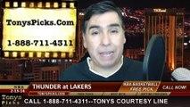 LA Lakers vs. Oklahoma City Thunder Pick Prediction NBA Pro Basketball Odds Preview 2-13-2014