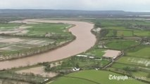 Aerial footage shows extent of flooding
