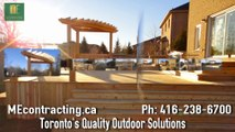 A toronto Deck with pergola and stainless steel railings