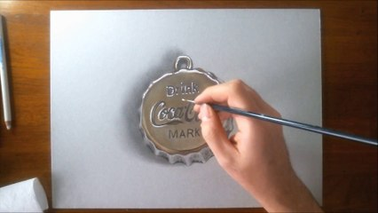 Hyperrealistic Speed Drawing of a Coca-Cola Bottle Cap Silver Pendant by Marcello Barenghi