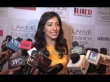 Actress Neha Sharma talking about ghosts at Lakme Fashion Week Summer/Resort 2014 press conference