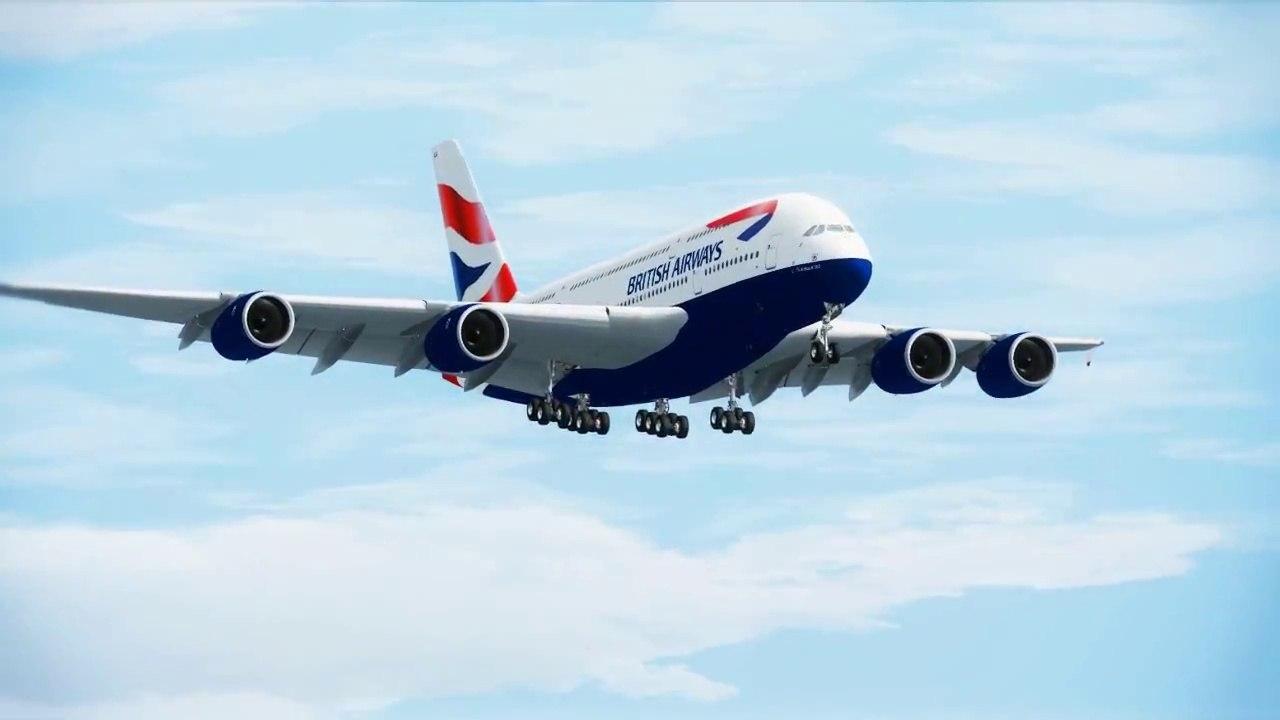 FSX British Airways A380 Landing ( HD )