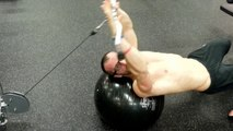 Workout Swiss Ball Cable Pull Over Exercise, Lats, Triceps & Chest