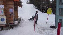Snowboarder Hilariously Fails Over And Over Using The Drag Lift