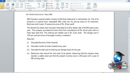 Q4 - Material Costing_EOQ_SafetyStock