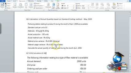 Q6 - Material Costing_Standard Costing