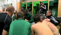La joie des Verts après ASSE 2-0 Monaco