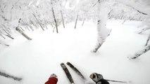 Descente en Ski : 2 skieurs deviennent fou et hurlent de joie! Grosses sensations!
