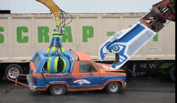 Seahawk Fans Destroy A Ford Bronco For The Superbowl