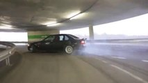 BMW 325 Drifting to the Top of the Parking Lot