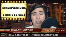 Baylor Bears vs. Iowa St Cyclones Pick Prediction NCAA College Basketball Odds Preview 3-15-2014