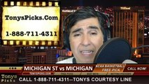 Michigan Wolverines vs. Michigan St Spartans Pick Prediction NCAA College Basketball Odds Preview 3-16-2014