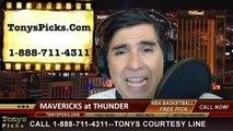 Oklahoma City Thunder vs. Dallas Mavericks Pick Prediction NBA Pro Basketball Odds Preview 3-16-2014
