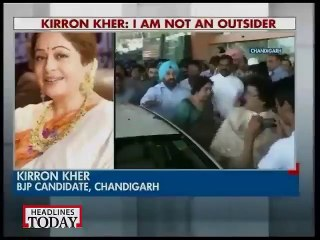 Kirron Kher greeted with black flags in Chandigarh