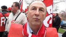 Jean-Baptiste Konieczny, secrétaire général FO Nord-Pas-de-Calais à Arras, mardi 18 mars, à midi