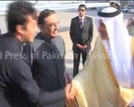 Pakistani President Asif Ali Zardari is greeted by Saudi Prince Khaled al-Faisal bin Abdul Aziz al-Saud, governor of Mecca, upon his arrival in the coastal city of Jeddah