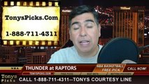 Toronto Raptors vs. Oklahoma City Thunder Pick Prediction NBA Pro Basketball Point Spread Betting Line Odds Preview 3-21-2014