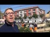 Aversa (CE) - Piazza Vittorio Emanuele, la Senesi ripulisce la fontana (21.03.14)