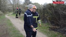 Vannes. Les pompiers luttent contre un feu de landes