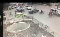 Guy crashes scooter five times!