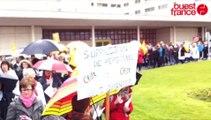 Deux cent manifestants à Saint-Lô pur défendre l'emploi à l'hôpital Mémorial