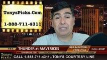 Dallas Mavericks vs. Oklahoma City Thunder Pick Prediction NBA Pro Basketball Preview 3-25-2014
