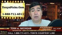 Michigan Wolverines vs. Tennessee Volunteers Pick Prediction NCAA Tournament College Basketball Odds Preview 3-28-2014