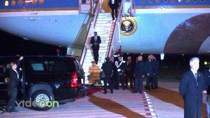 Barack Obama arriva con l'Air Force One all'Aeroporto di Fiumicino