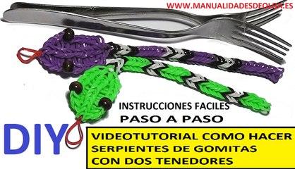 COMO HACER UNA SERPIENTE DE GOMITAS CON DOS TENEDORES. VIDEO TUTORIAL DIY