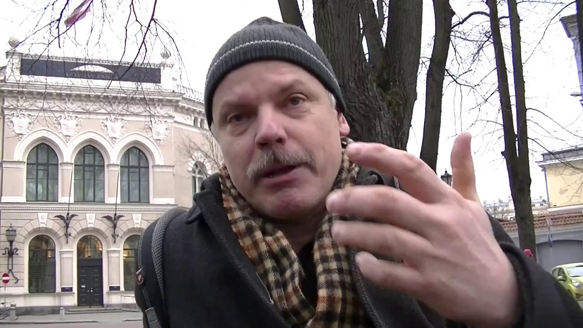 Рига у банка Латвии 27 декабря 2013 года
