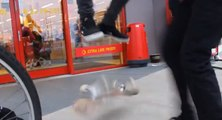 Lazy skater gets someone else to flip his board for him