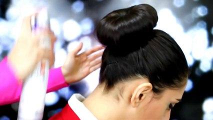 Hair bun tutorial in 1 MINUTE , طريقة عمل تسريحة كعكة الشعر المرفوعة بدقيقة واحدة