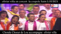 TVBordeaux33 Fin de concert olivier villa à la coupole de saint loubes avec la chorale chœur de lou qui as accompagné le chanteur