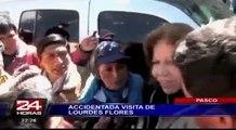 Acorralada: Lourdes Flores vivió momentos de tensión con pobladores de Pasco