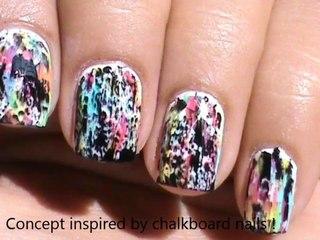 Color acid wash nails - Without tools! - No tools nail art
