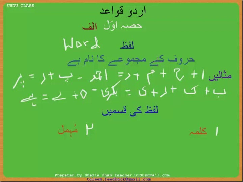 Urdu Grammar Part 1 (a) Haroof