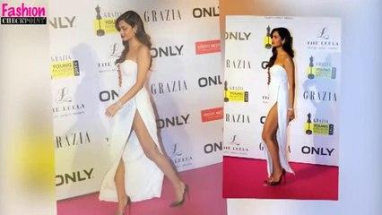 Esha Gupta's DANGEROUSLY HIGH SLIT white gown
