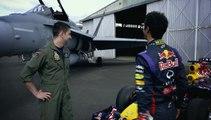 Une F1 contre un avion de chasse