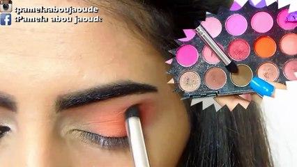 An Orange_peach makeup for brown eyes,_مكياج للعيون البنية