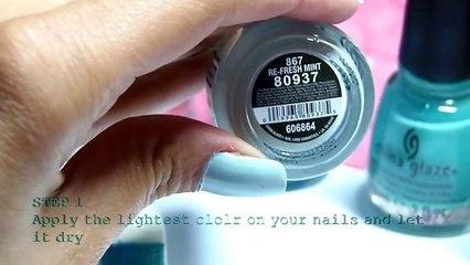 mermaid ombre nails_تدريج الألوان على الأظافر