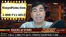 NHL Playoff Odds Game 3 Dallas Stars vs. Anaheim Ducks Pick Prediction Preview 4-21-2013