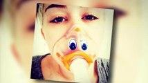 """Miley Cyrus postet ein Foto von sich mit Sauerstoffmaske - ihre """"Bangerz"""" Tour muss verschoben werden."""