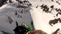 Amazing Snowmobile Cliff jump... Filmed with a GoPro!