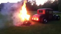 Set a Barbecue on fire with a car... So crazy!