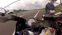 Crazy biker driving so so fast - amazing race betwin BMW S1000RR and Honda CBR1000RR